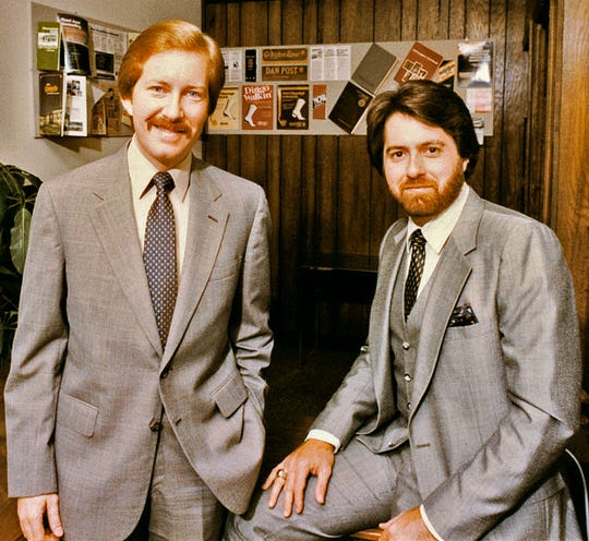 Frank Lott, left, and Jeff Bibb, photographed in the earlier stages of their Clarksville business partnership.