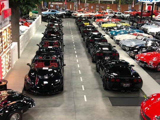 Rick Hendrick's collection of VIN #0001 Corvettes at the Heritage Center, his garage in Concord, North Carolina.