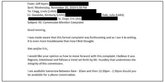 Jeff Styers, chairman of the Michigan Unarmed Combat Commission, emails other state officials about a complaint against fellow commission member Bruce Hundley.