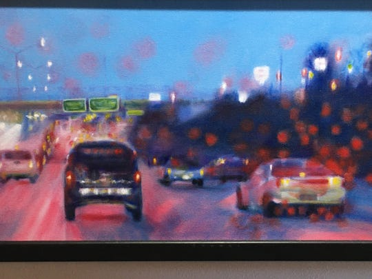 """Morning Commute"" by Jackie Rybinski, in a small show its own at the front of the gallery."