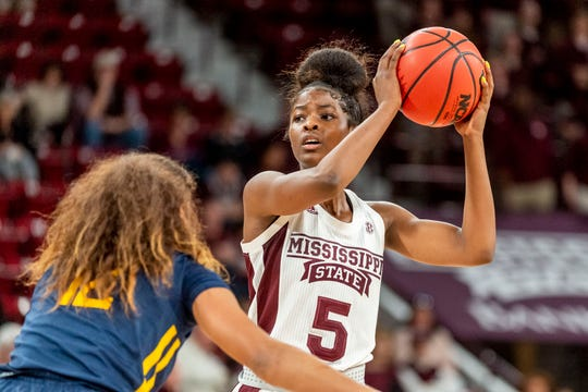 Former Detroit Edison star Rickea Jackson (5) is Mississippi State's second-leading scorer as a freshman.