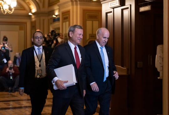 Chief Justice of the United States John Roberts arrives at the Senate to preside at the impeachment trial of President Donald Trump on charges of abuse of power and obstruction of Congress, at the Capitol in Washington, Thursday, Jan. 16, 2020.