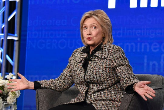 """Hillary Clinton participates in the Hulu """"Hillary"""" panel during the Winter 2020 Television Critics Association Press Tour, on Friday, Jan. 17, 2020."""