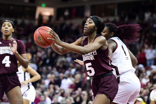Mississippi State forward Rickea Jackson (5) had 16 points and five rebounds in a loss to top-ranked South Carolina on Monday night.