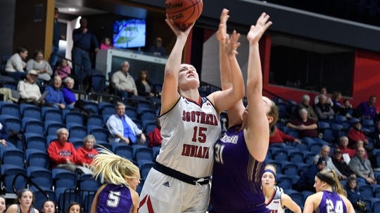 USI's Audrey Turner goes up for a shot during Monday night's game against McKendree. Turner's 13 points, seven rebounds and four blocks helped lead the Screaming Eagles to victory.