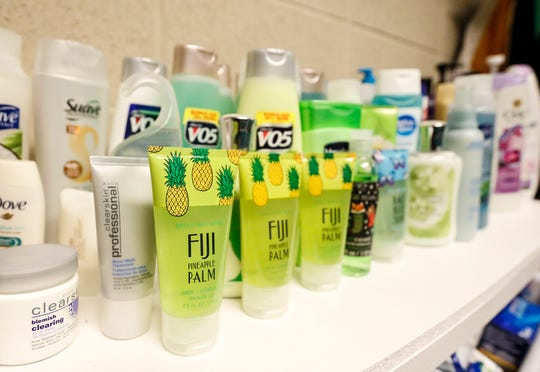 Shampoo and body soap in the caring closet Friday, Jan. 17, 2020, at Woodworth Middle School in Fond du Lac, Wis. The caring closet provides clothing and hygiene items that some students may need.