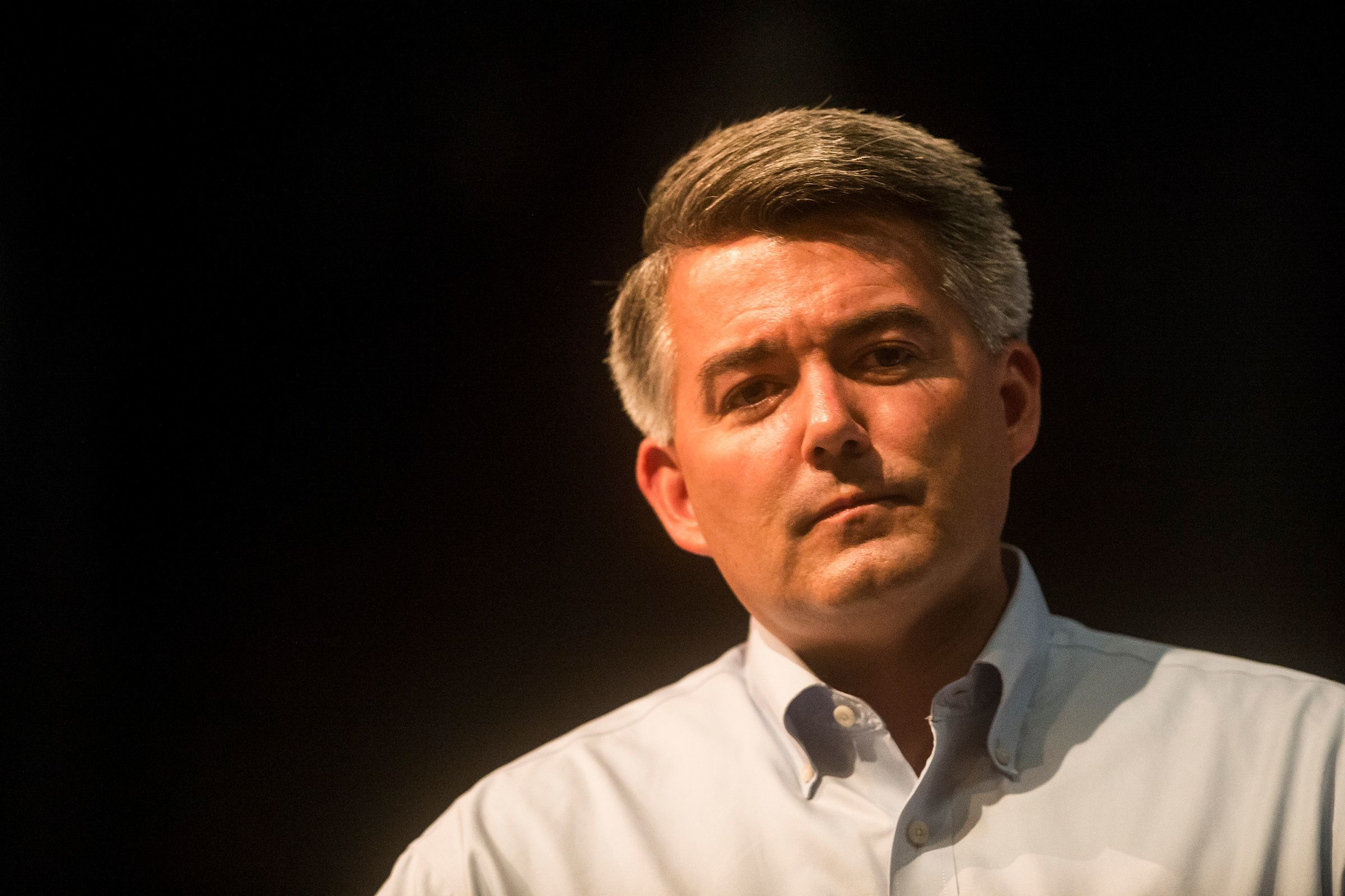 Sen. Cory Gardner speaks to a packed room, Tuesday, August 15, 2017, during a Town Hall meeting with Sen. Cory Gardner at the University Schools Auditorium in Greeley, Colo.