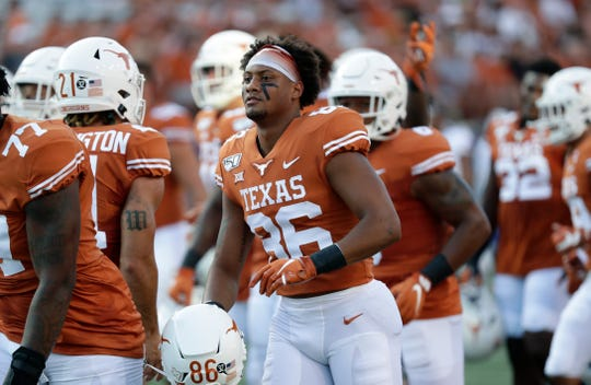 Texas wide receiver Jordan Pouncey (86) is seen before a game against Louisiana Tech on Saturday, Aug. 31, 2019, in Austin, Texas. Pouncey transferred to Florida and will be on the field for the Gators in 2020.