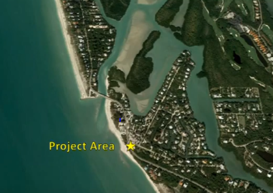 Aerial view of the coastline of Sanibel and Captiva islands. The project area, just south of Blind Pass on the Sanibel-Captiva road, has been badly eroded since Hurricane Michael moved through the Gulf of Mexico in Odtober, 2018.