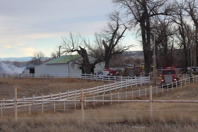 Firefighters responded to a blaze west of Vaughn Monday afternoon. Nobody was hurt in the fire, which destroyed a workshop just a few hundred feet from a family dwelling.
