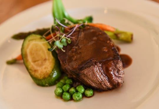 A fillet of ceritifed Angus beef strip with garlic mashed potatoes and veggies with Merlot sauce at Prego in The Westin Guam Resort, Tumon, Jan. 20, 2020.