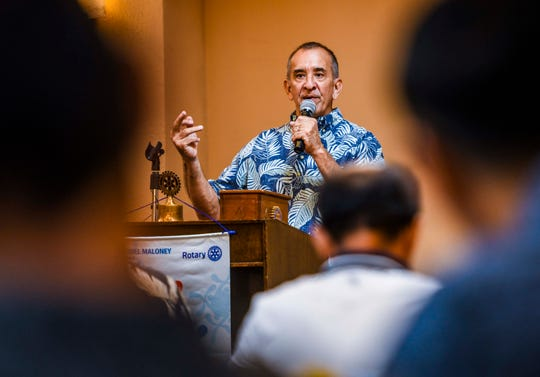 Terry Debold, Independent Interscholastic Athletic Association of Guam president, addresses Rotary Club of Tumon Bay members and others during the club's weekly luncheon at the Hilton Guam Resort & Spa in Tumon on Tuesday, Jan. 21, 2020.