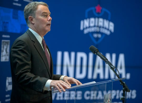 Mayor Joe Hogsett speaks at a Lucas Oil Stadium press conference, Indianapolis, Tuesday, Jan. 21, 2020. The meeting announced a campaign to find 10,000 volunteers to help with over a dozen events in the next few years, as well as raise a total of $25 million.