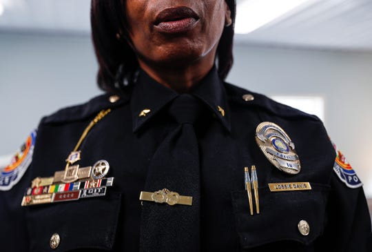Newly appointed Southport Police Department assistant chief Lossie M. Davis poses for IndyStar at Southport Police Department, Southport, Ind., Thursday, Jan. 16, 2020. Davis is the first woman and first African American woman to hold command staff position in the of the department's 180 year history.