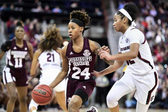 Mississippi State guard Jordan Danberry (24) dribbles the ball against South Carolina guard Tyasha Harris, right, during the first half of an NCAA college basketball game Monday, Jan. 20, 2020, in Columbia, South Carolina.