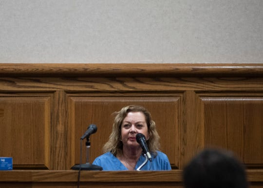 Bonnie Chary, a community member who witnessed a man naked in Liberty Park in January 2019, testifies at the J. Alexander Leech Criminal Justice Complex, Tuesday, Jan. 21, 2020 in Jackson, Tenn.