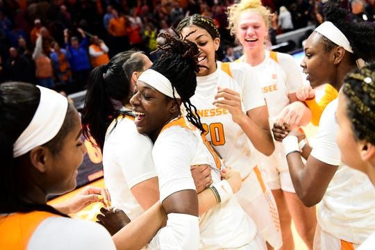 Tennessee guard/forward Rennia Davis (0) celebrates after defeating Alabama 65-63 at Thompson-Boling Arena in Knoxville, Tennessee on Monday, January 20, 2020.