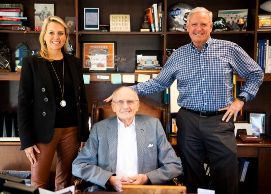 From left, Whitney Haslam Johnson, Jim Haslam and Jimmy Haslam photographed at Pilot's headquarters in Knoxville on Thursday, January 16, 2020.