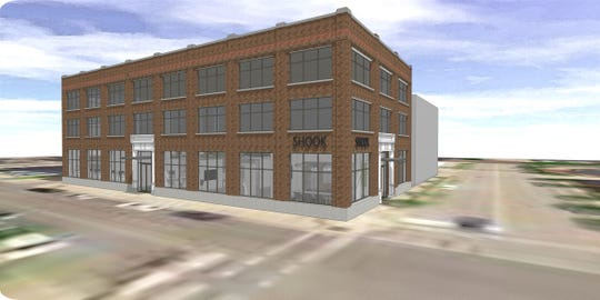 Coldwell Banker Shook Agency plans to move one block north to Fifth and Ferry streets and take the first floor of the Haywood Building, shown in an artist's sketch here. The upper floors will be renovated into 22 apartments in a building owned by W.H. Long.