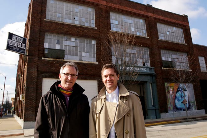 Charlie Shook and Steve Shook pose for a photo outside of the Haywood Building, at corner of 5th and Ferry Streets, Tuesday, Jan. 21, 2020 in Lafayette. The Haywood Building will become the new Coldwell Banker Shook offices.