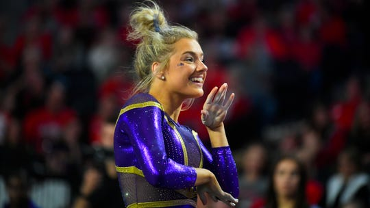 LSU gymnast Sarah Edwards competes against Georgia during an NCAA gymnastics meet on Friday, Jan 10, 2020 in Athens, Ga. (AP Photo/John Amis)