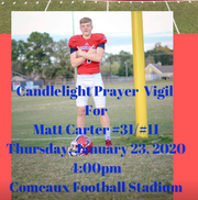 Friends, family and classmates are planning a prayer vigil for Matthew Carter, the 17-year-old Comeaux High School athlete shot Saturday in an attempted armed robbery.