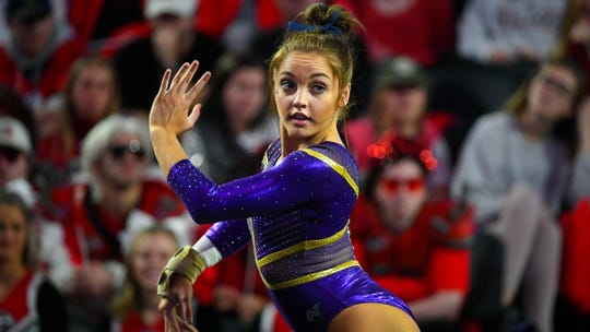 LSU gymnast Ruby Harrold competes against Georgia during an NCAA gymnastics meet on Friday, Jan 10, 2020 in Athens, Ga. (AP Photo/John Amis)