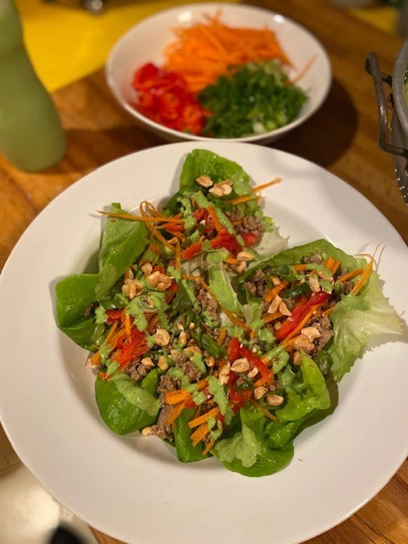Try this creamy cilantro sauce to add more zing to Thai-inspired lettuce wraps.