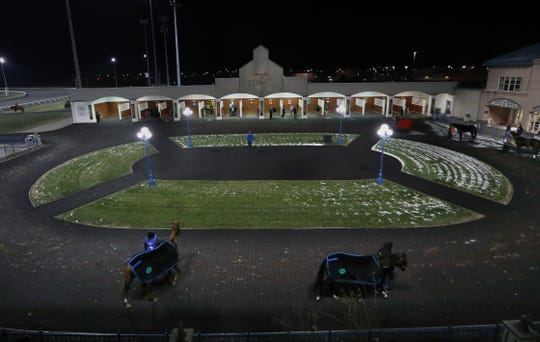 The paddock at Turfway Park on a Thursday night. Turfway has recently been bought but Churchill Downs and is planning a $100 million makeover. Dec. 19, 2019