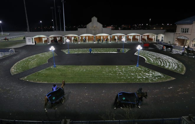 The paddock at Turfway Park on a Thursday night. Turfway has recently been bought but Churchill Downs and is planning a $100 million makeover. 