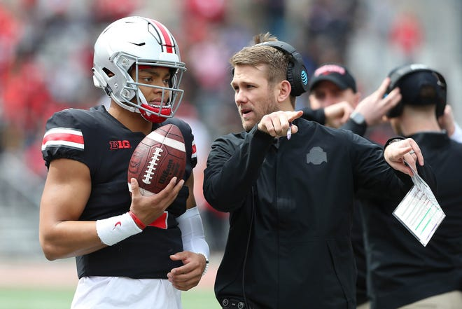 New quarterbacks coach Corey Dennis, son-in-law of former head coach Urban Meyer, got to work closely with Justin Fields this past season as a quality control coach.