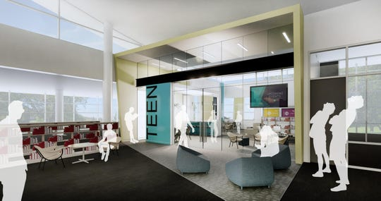The Menomonee Falls Public Library will get a teen center as part of its Phase 1 improvements. Features of the teen area include an enclosed area with a glass front to allow for easy visibility, a variety of seating options for study, group projects and social interaction. Library officials have not yet approved a design; this image is just a possibility of what the space could look like.