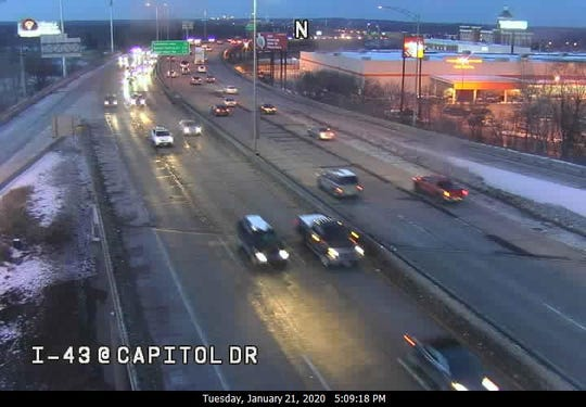 This freeway camera image shows I-43 near Capitol Drive in Milwaukee County. The two northbound left lanes will be closed from 10 p.m. Tuesday to 5 a.m. Wednesday for emergency road repairs, according to the state Department of Transportation.