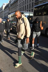 Khris Middleton of the Milwaukee Bucks arrives at the Park Hyatt in Paris on Tuesday as part of NBA Paris Games.