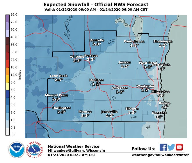 Light snow is expected across portions of southern Wisconsin during the next couple days.
