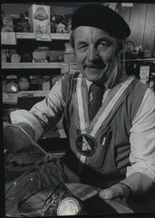 Larry Ehlers, the founder of Larry's Market in Brown Deer and a pioneer in the sale of specialty foods, is shown in the store in 1977 wearing his Guilde des Fromagers medal. He was inducted into the society in 1976.