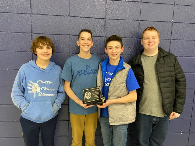 The Cotter Junior High chess team took second place at the CAAS Regional Chess Tournament on Saturday, Jan. 18. Cotter hosted the Junior High and Senior High tournament. Cotter's Junior High team is comprised of all 7th graders. Pictured above are (left to right) Gregory Smith, Ryan Benedict, Brayden Adams, and Luke Duggins. The Cotter Warrior Chess teams are coached by Lisa Coots and Justin Benham.