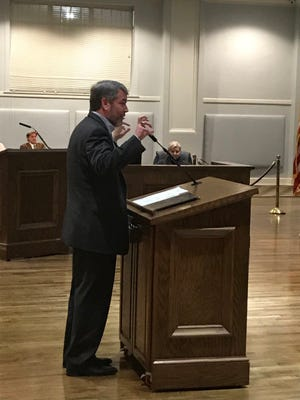 Head of Old Cloverdale Association, Brian Mann, spoke in opposition to a liquor license for a business near Cloverdale Tuesday.