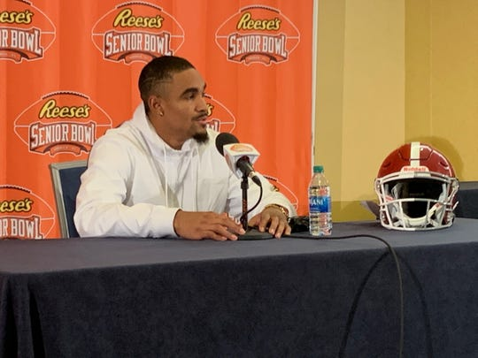 Former Alabama and Oklahoma quarterback Jalen Hurts speaks to the media during the 2020 Senior Bowl introductory press conference Monday night inside the Renaissance Plaza Hotel in downtown Mobile. (Photo courtesy of Alex Byington/Montgomery Advertiser)