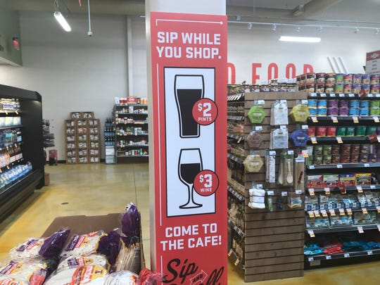 Lucky's Market stores allowed shoppers to drink wine and beer while they shopped.