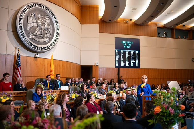 New Mexico Gov. Michelle Lujan Grisham gives her State of the State address during the opening of the New Mexico legislative session in the House chambers at the state Capitol in Santa Fe, N.M. on Tuesday, Jan. 21, 2020.