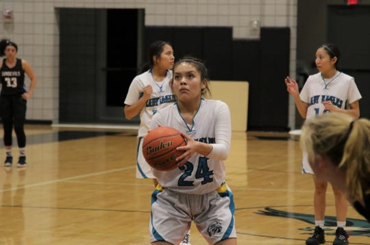 The Navajo Prep Lady Eagles believe Tai Tai Woods, seen here during a girls basketball game against Sandia Prep on Friday, Jan. 10, 2020 at the Eagles Nest in Farmington, is the last key piece in pursuing a state championship.