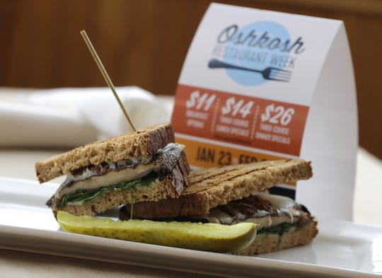 A portobello sandwich is seen here Tuesday, Jan. 14, 2020, at Fox River Brewing Co. The dish, which is part of Oshkosh Restaurant Week, consists of a marinated portobello on a toasted wheat panini served a creally shallot sauce, Swiss cheese and a spinach/arugula blend.