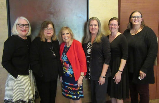 Author Alice Hoffman poses with Literary Society members Nancy Cunningham, Stephanie Konecoff, Shannon Fix, Mary-Kaylor Hanger and Lori Davis.