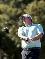 Sepp Straka tees off on the 18th tee at the La Quinta Country Club during round three of the American Express golf tournament in La Quinta, Calif., on Saturday, January 18, 2020.
