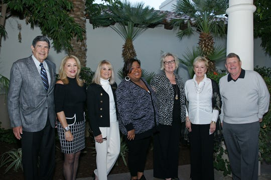 Rancho La Quinta Education Fund committee members Steve Arent, Jane LaPado, Callie Sbarbaro and Dick Robinson, along with chairwoman Karen Ackland, welcomed Inland Empire Community Foundation's Denisha Shackelford and Paula Myles.