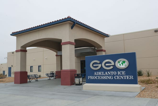 The GEO Group, a private company, operates the U.S. Immigration and Customs Enforcement's Adelanto processing Center in Adelanto, Calif., on Dec. 3, 2019.