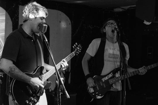 The Simpson brothers, Brandon (left) and Brent (right) of the Coachella Valley ska band Spankshaft performing during a show in August 2018 at The Hood Bar and Pizza in Palm Desert, Calif.