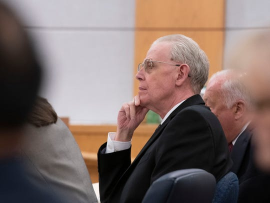 Donald Hartung Sr. sits in the courtroom of Circuit Judge Thomas Dannheisser on Tuesday.