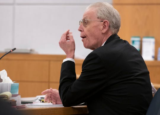 Donald Hartung Sr. sits in the courtroom of Circuit Judge Thomas Dannheisser on Tuesday. Hartung is on trial for first-degree murder in the deaths of his mother and two half-brothers in 2015.